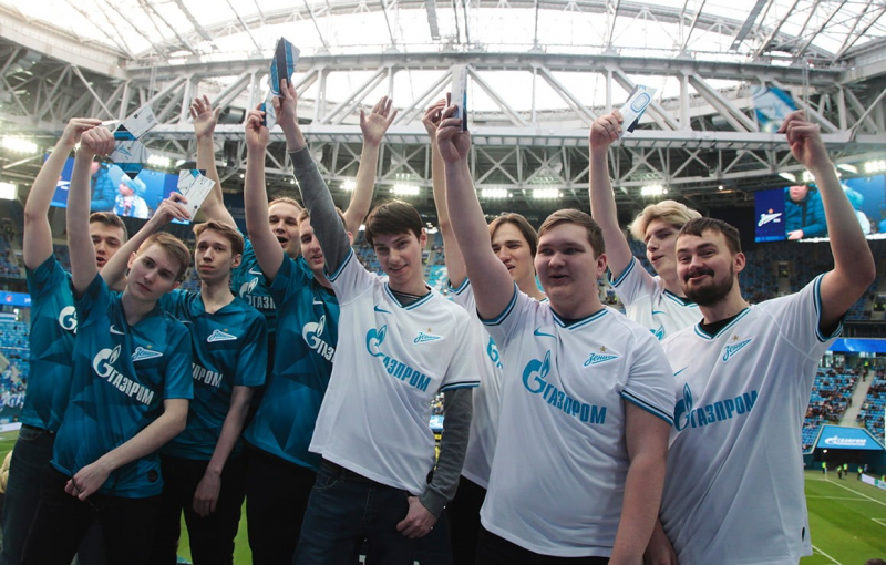 Kronbars esports after the first ever Dota 2 tournament at Gazprom Arena(on the right))