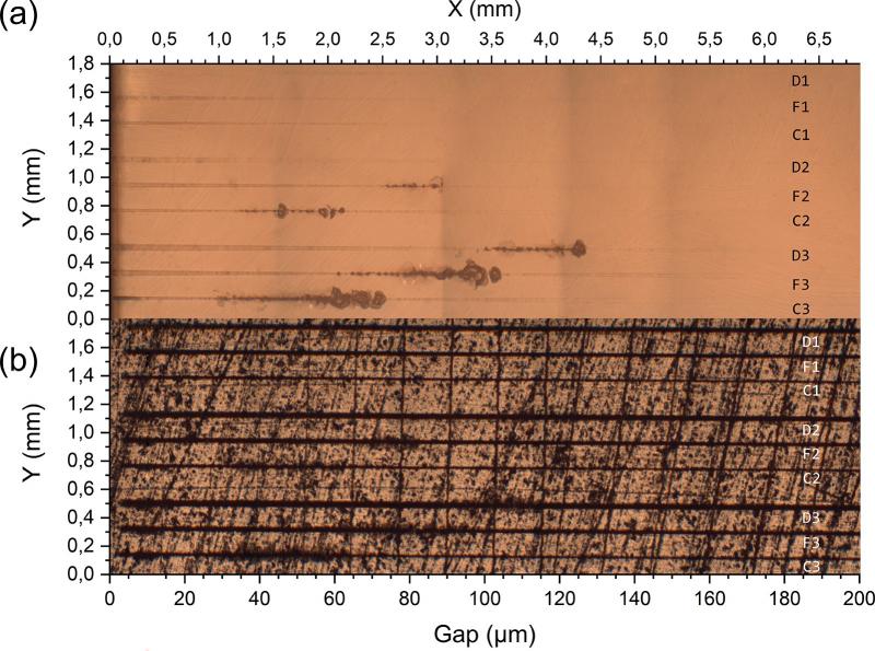 Внешний вид поверхности стекла (а) и мишени (b) под микроскопом после воздействия микроплазмы. Обработка в расходящемся лазерном пучке (D), в фокусе (F) и в сходящемся пучке (C). Иллюстрация предоставлена авторами статьи