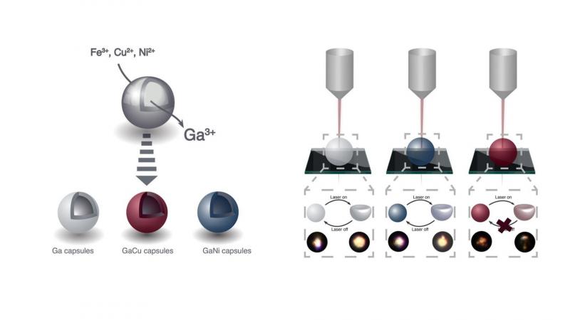 Слева: процесс формирования микрокапсул галлия. Справа: взаимодействие микрокапсул галлия, микрокапсул галлия с примесью никеля и микрокапсул галлия с примесью меди с фемтосекундным лазерным излучением. Иллюстрации из статьи в Physical Chemistry Letters / pubs.acs.org