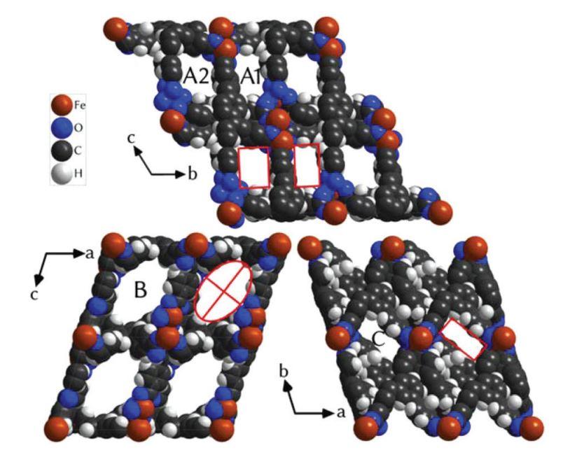 Молекулярная структура кристалла в трех проекциях. Химические элементы: Fe - железо, O - кислород, C - углерод, H - водород. Атомы O, C, H - это органическая составляющая материала