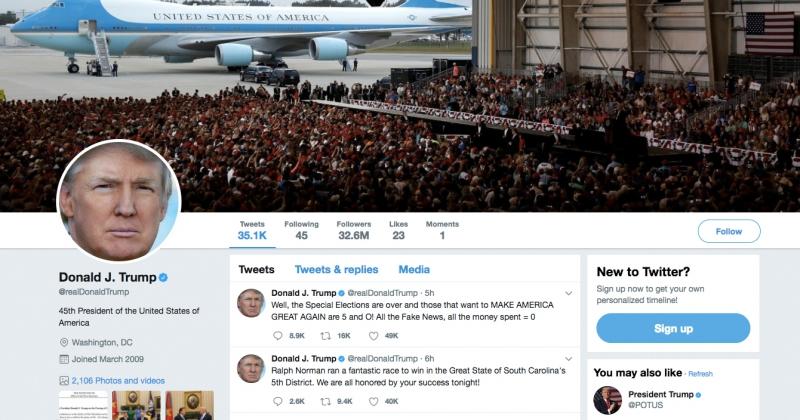 Twitter Дональда Трампа. Источник: twitter.com/realdonaldtrump