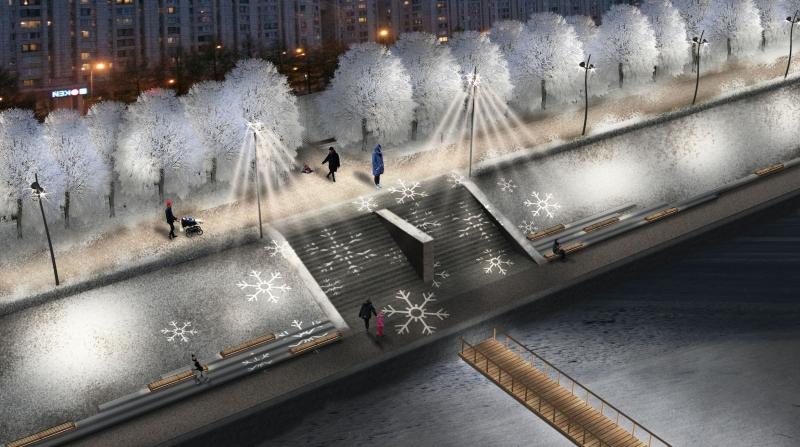 Оформление Новосмоленской набережной в новогоднее время