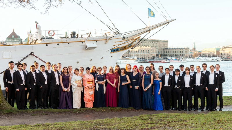 Участники Stockholm International Youth Science Seminar перед церемонией вручения Нобелевской премии