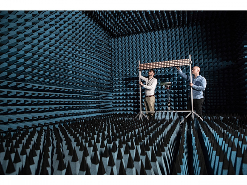 Antenna array in an anechoic chamber. Credit: sine.ni.com