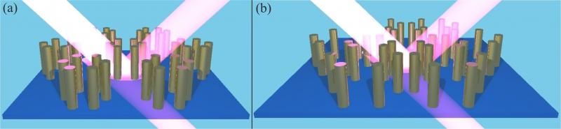 Рисунок  метаповерхностей, исследованных в работе: (a) Топологически тривиальная структура. (b) Топологически нетривиальная структура.