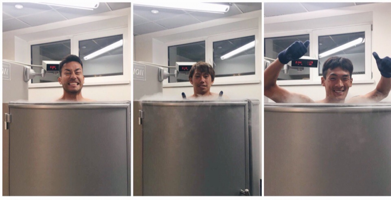 The Japan national football team in a cryosauna