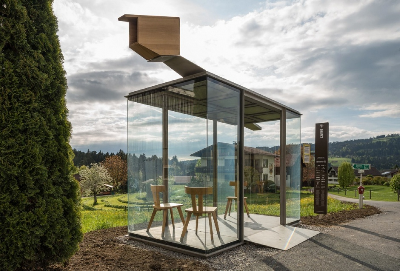 A bus stop in Europe