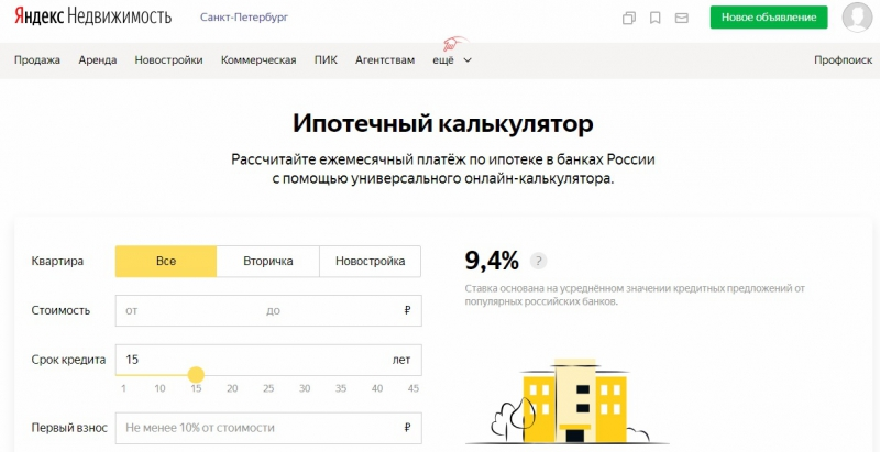Mortgage Calculator. Credit: realty.yandex.ru
