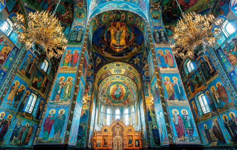 The interior of the Church of the Savior on Spilled Blood. Credit: therussophile.org