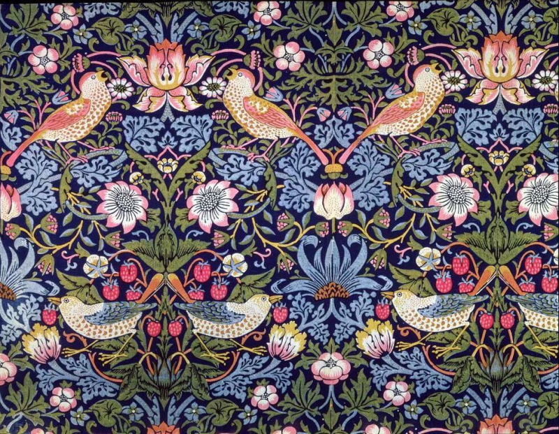 Strawberry Thief, a textile design by William Morris, the founder of the Arts and Crafts Movement. Credit: www.magnoliabox.com