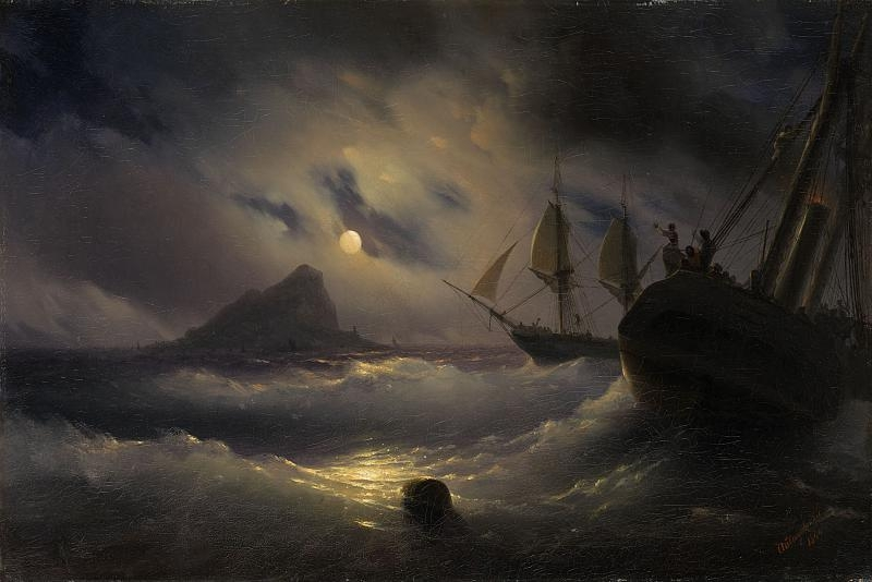 Ivan Aivazovsky's Gibraltar at Night. Credit: culture.ru