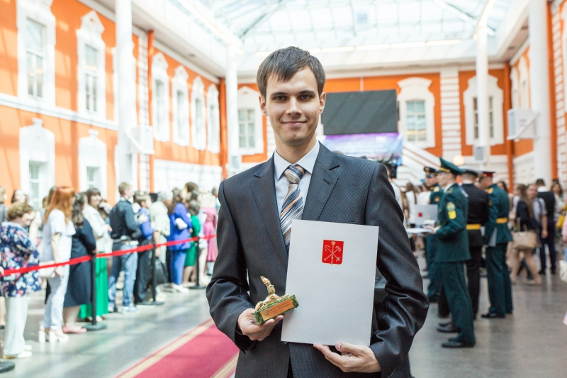 Gennady Korotkevich at the awards ceremony of St. Petersburg's best students