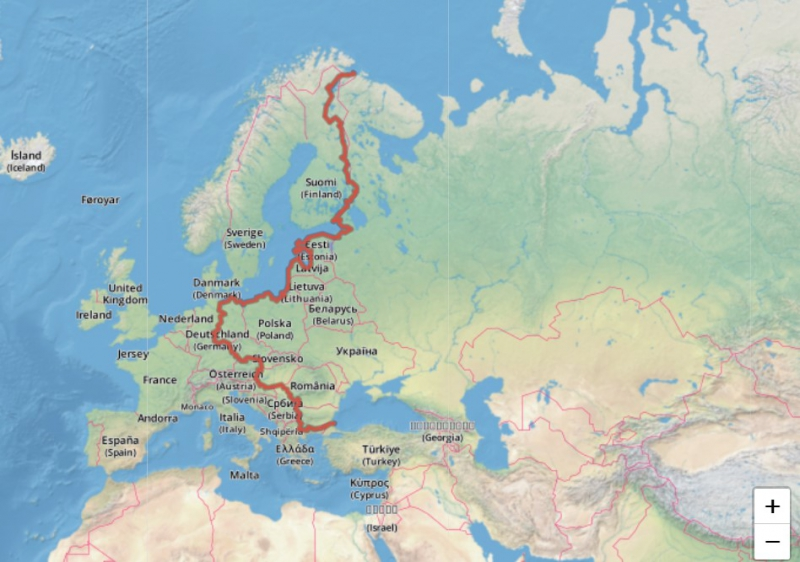 The EuroVelo 13 — Iron Curtain Trail. route. Credit: eurovelo.com