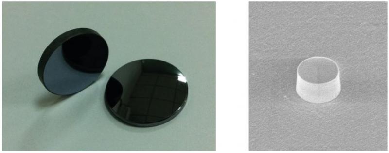 Изображение: Левая панель. Коммерческие подложки из арсенида галлия. Правая панель. Изображение изготовленного нанорезонатора со сканирующего электронного микроскопа. Источник: findlight.net; научная статья