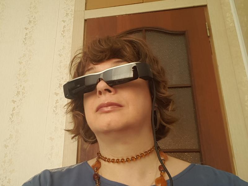 Yana Artishcheva wearing Epson Moverio BT-200 AR glasses
