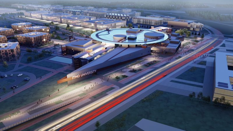 A concept design of the ITMO Highpark campus, courtesy of the architectural bureau Studio 44