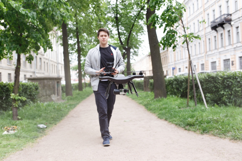 Artemii Zenkin with the drone that earned him a win at the Mile of Technology competition in Germany