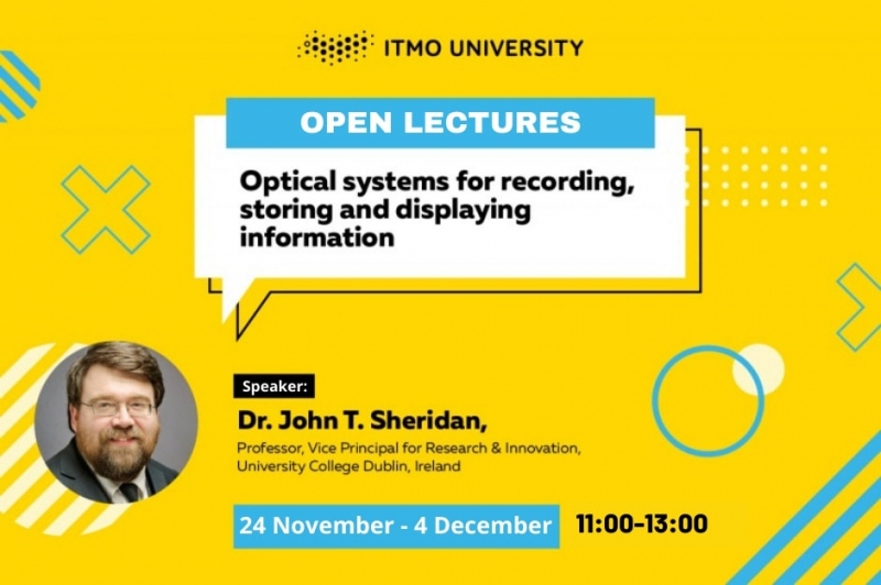 Announcement of Prof. John T. Sheridan's lecture series at ITMO on November 24 - December 4